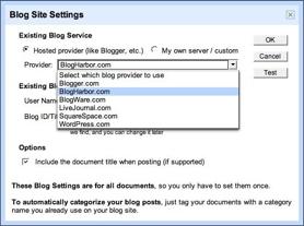 Googledocs Choose your Blog Provider